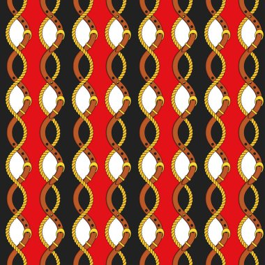 Seamless pattern with gold chains, pendants and straps