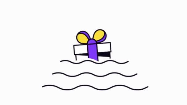 Fényes szórakoztató nyaralás ajándék doboz hullám 2D animáció. A születésnapi kártyák eleme