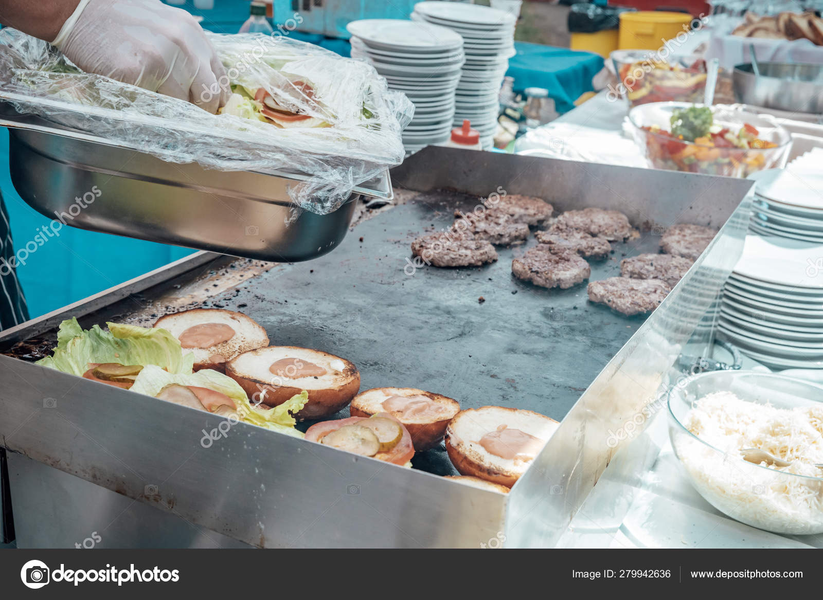 Catering For Birthday Party Wedding Event Grilling Meat Corn Burger Sausage Sunflower Vegetables Fruit Dishes Dessert Salads Pasta Sweets Stock Photo Image By C Edmond77 279942636