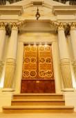 Oakland, California - 2018. szeptember 30.: A Tórah Ark, Temple Sinai Reform zsinagóga. 1875-ben alapították, az a legrégebbi zsidó kongregációja, a San Francisco-öböl keleti régió.