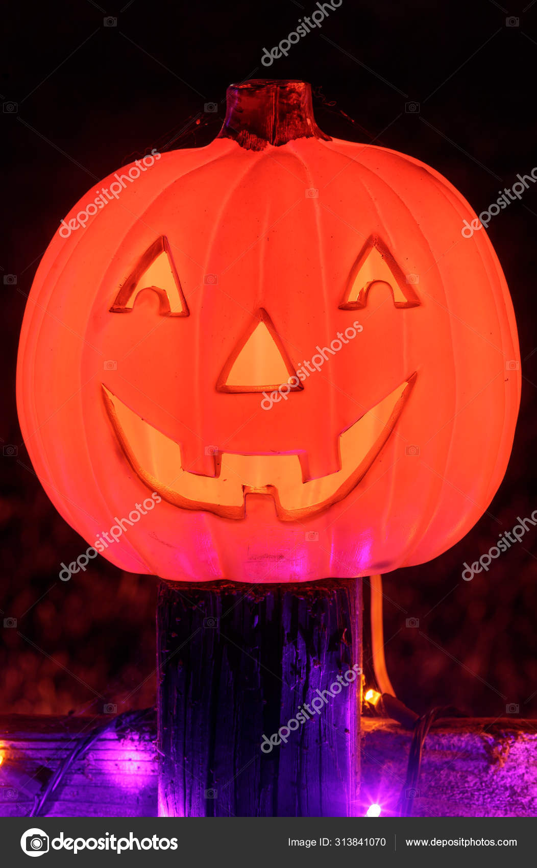 Jack Lantern Pumpkin Glowing Dark Halloween Season