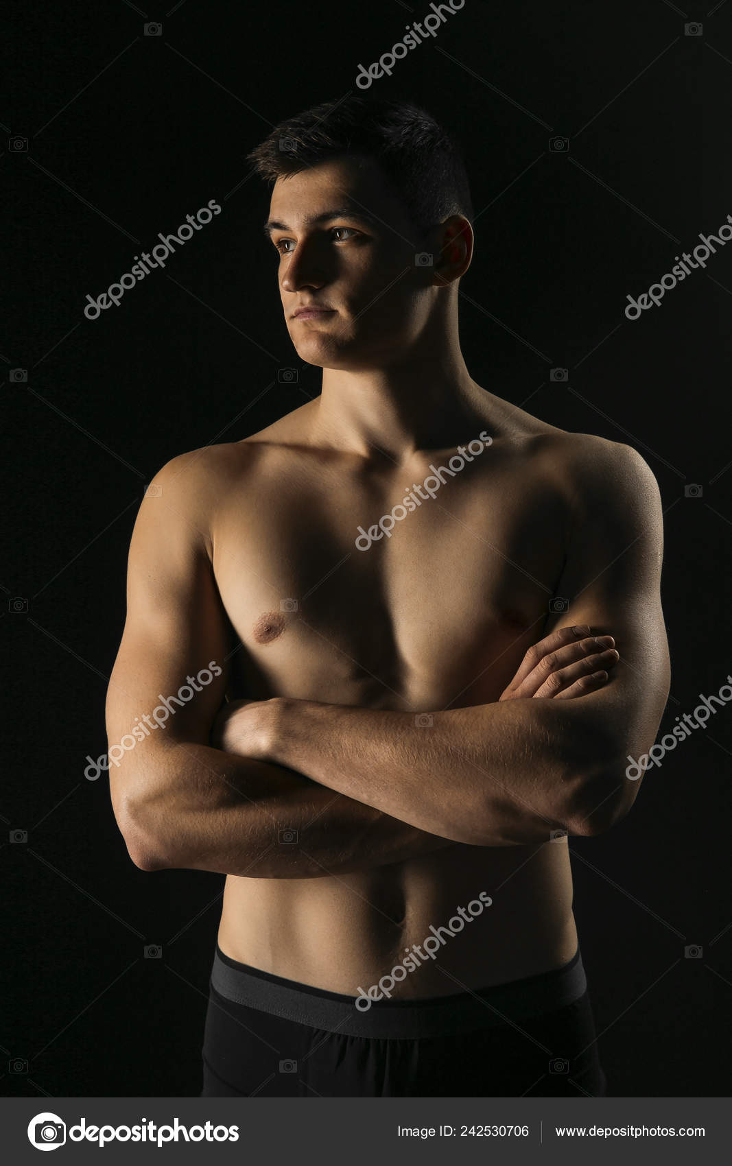 Naked athletic body Portrait Man Beautiful Athletic Body Low Key Well Built Guy Stock Photo By C Logvinyukyuliia 242530706