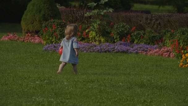 Detail baby Girl hrát s červenou kouli na zelené trávě v létě světlo v parku. Děťátko se bavit. Barevné letní květiny pozadí. Šťastný rodinný koncept.