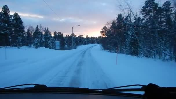beautifil winter lappland landscape from the car