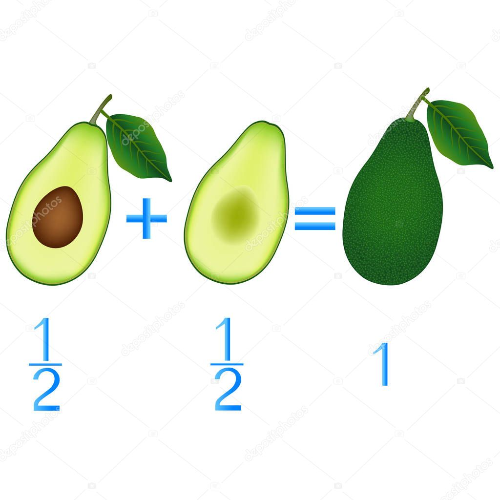 Action relationship of addition halves, examples with avocado. Educational game for children.