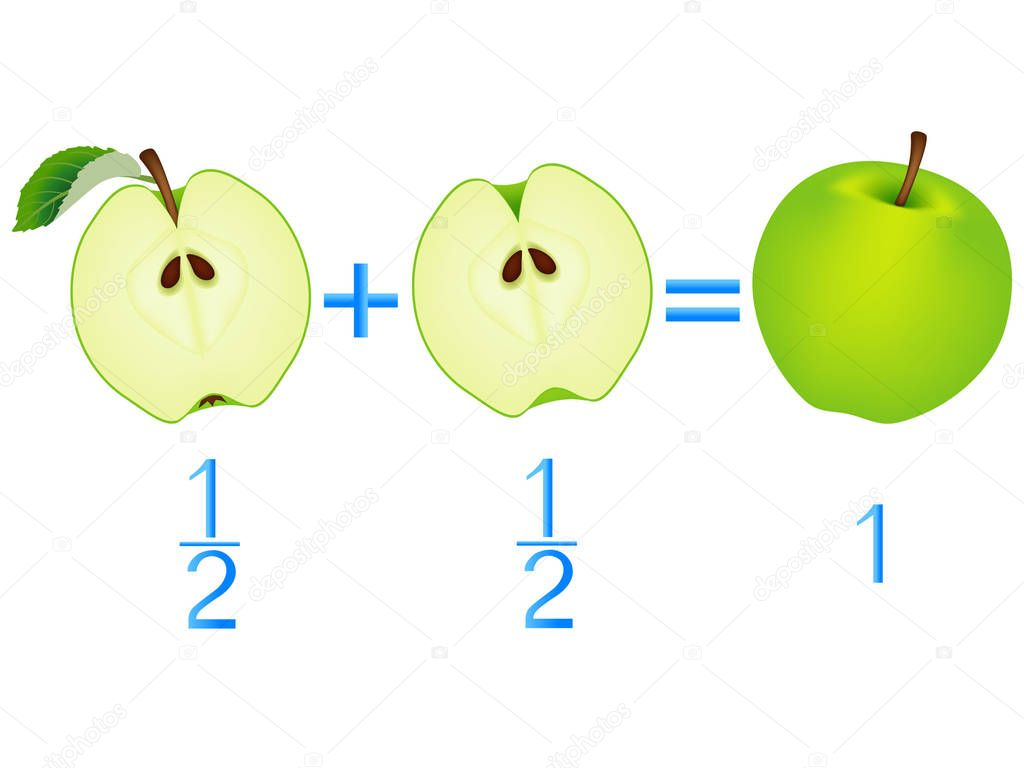 Action relationship of addition halves, examples with apples. Educational game for children.