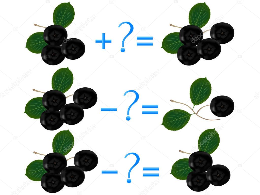 Action relationship of addition and subtraction, examples with black chokeberry. Educational games for children.