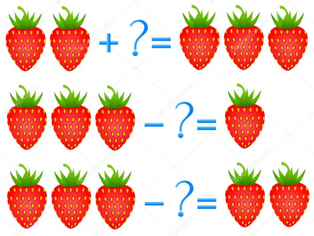Action relationship of addition and subtraction, examples with of a strawberry. Educational games for children.