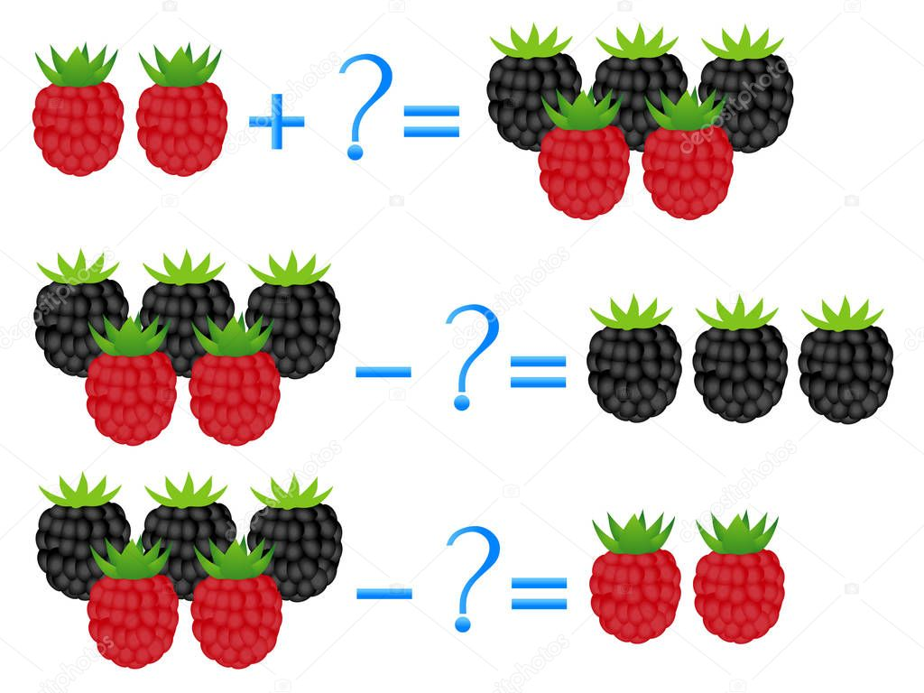 Action relationship of addition and subtraction, examples with berries. Educational games for children.