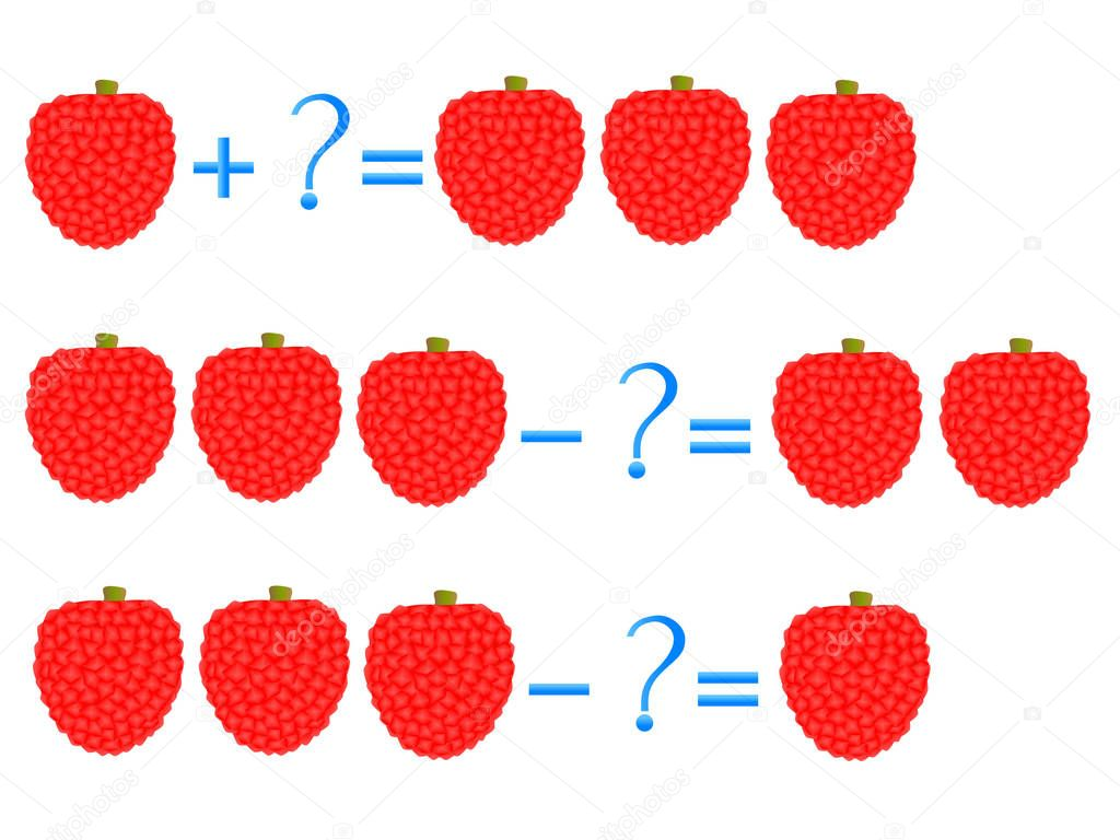 Action relationship of addition and subtraction, examples with of a lychee. Educational games for children.