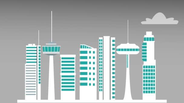 都市の建物や高層ビルの Hd アニメーション \u2014 ストックビデオ