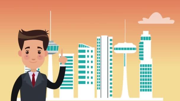 Businessman in big city HD animation