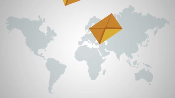 Obálky a vesele se mapa světa Hd animaci