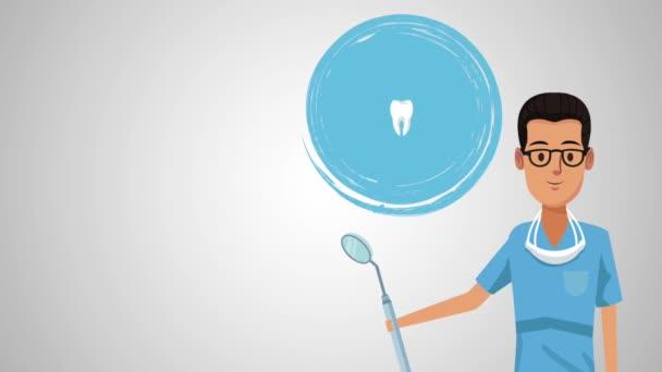 Dentist cartoon and dental hygiene HD animation