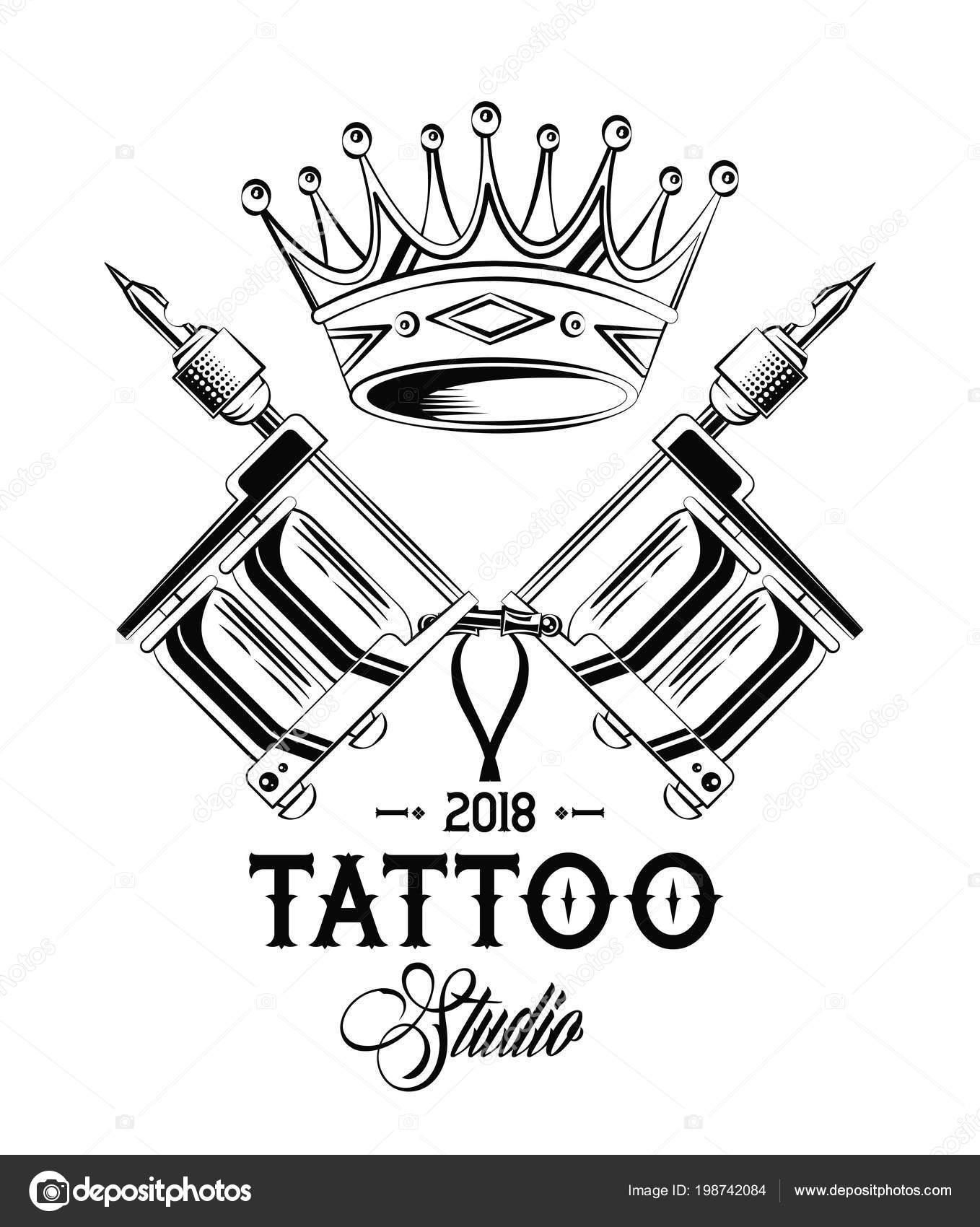 Vector Coronas Tatuajes Máquinas Tatuaje Old School Corona Dibujo