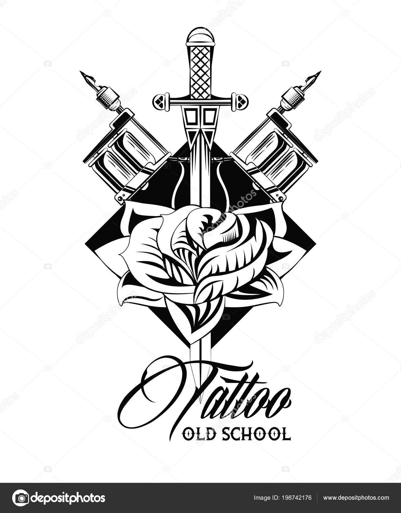 Diseño De Estudio De Tatuaje En Blanco Y Negro Archivo Imágenes