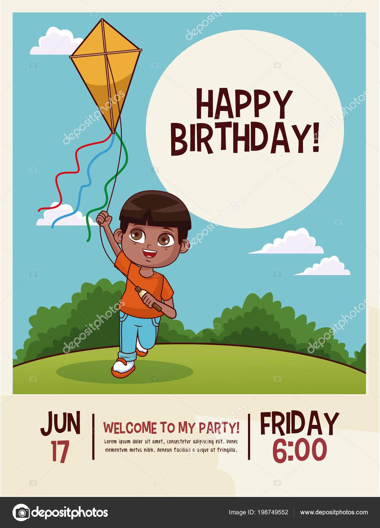 Carte Anniversaire Kitesurf.Carte De Joyeux Anniversaire Enfants Image Vectorielle