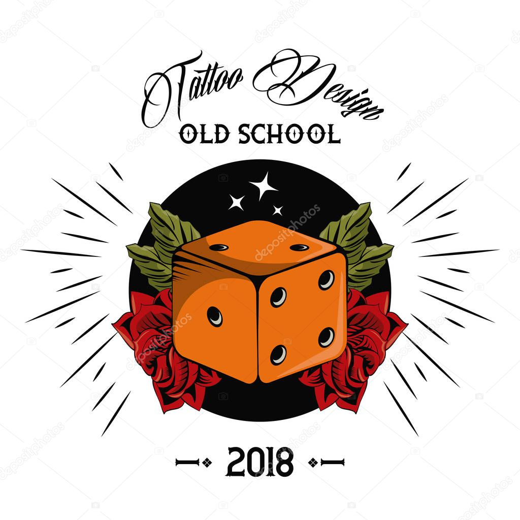 Old school tattoo dice drawing design vector illustration graphic