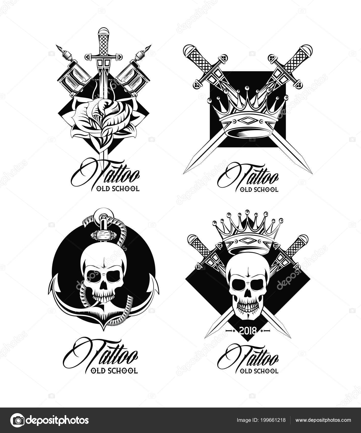 Set Of Tattoo Design Emblems Collection Vector Illustration Graphic Jemastock