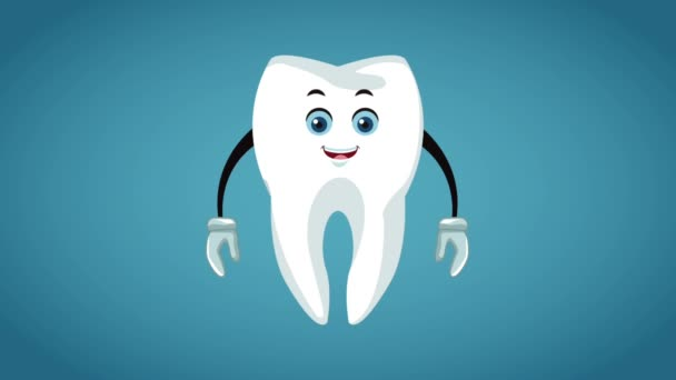 Tooth cartoon dental hygiene HD animation