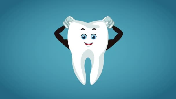 Tooth with strong arms cartoon HD animation