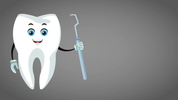 Cute tooth dental cartoon HD animation