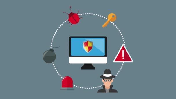 Bezpečnostní systém a hacking Hd animaci