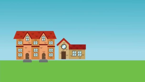 Eltern und Tochter in Nachbarschaft cartoon High Definition Animationsszenen