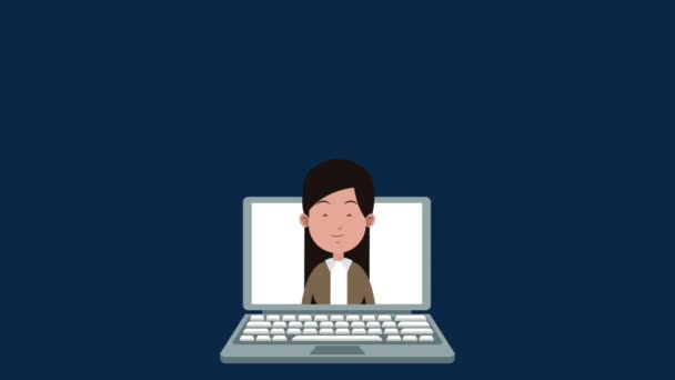 Mutter im Gespräch mit Kindern per Laptop High-Definition-Animationsszenen