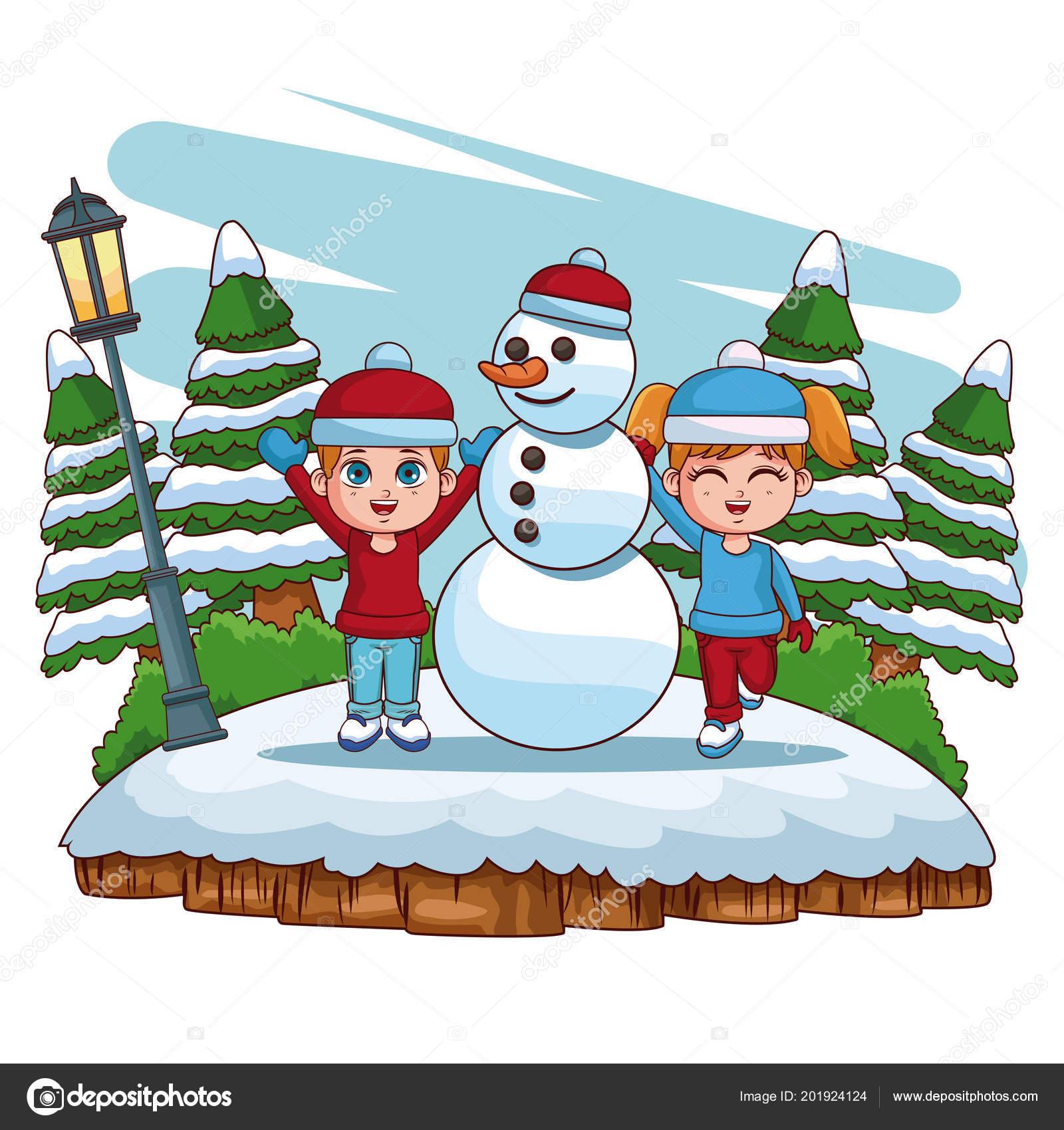 Cute kids in winter cartoons — Stock Vector © jemastock #201924124