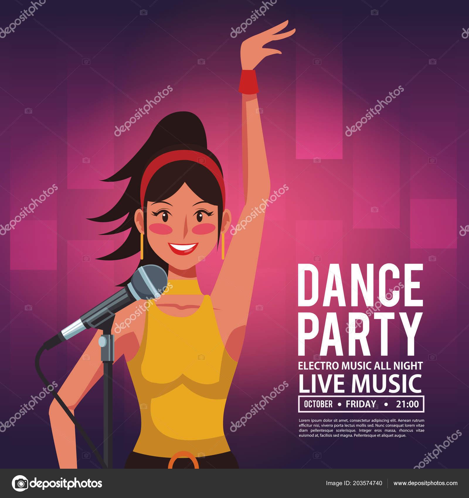 dance party invitation card stock vector jemastock 203574740
