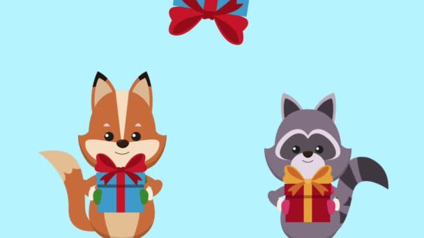 Cute animals and christmas cartoon HD animation