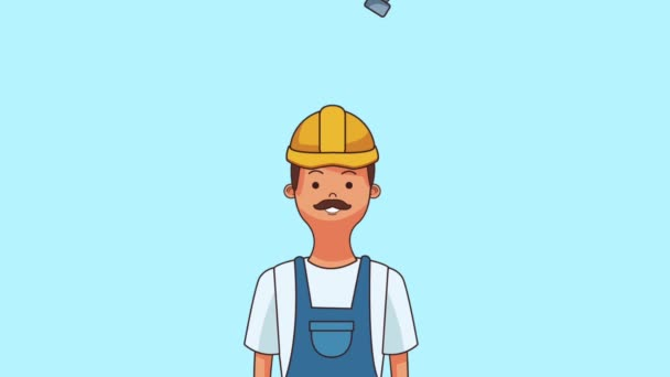 Construction worker cartoon HD animation