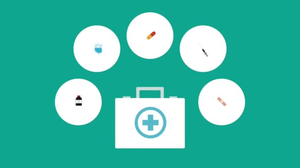 First aids suitcase and medicine round icons high definition  colorful animation scenes