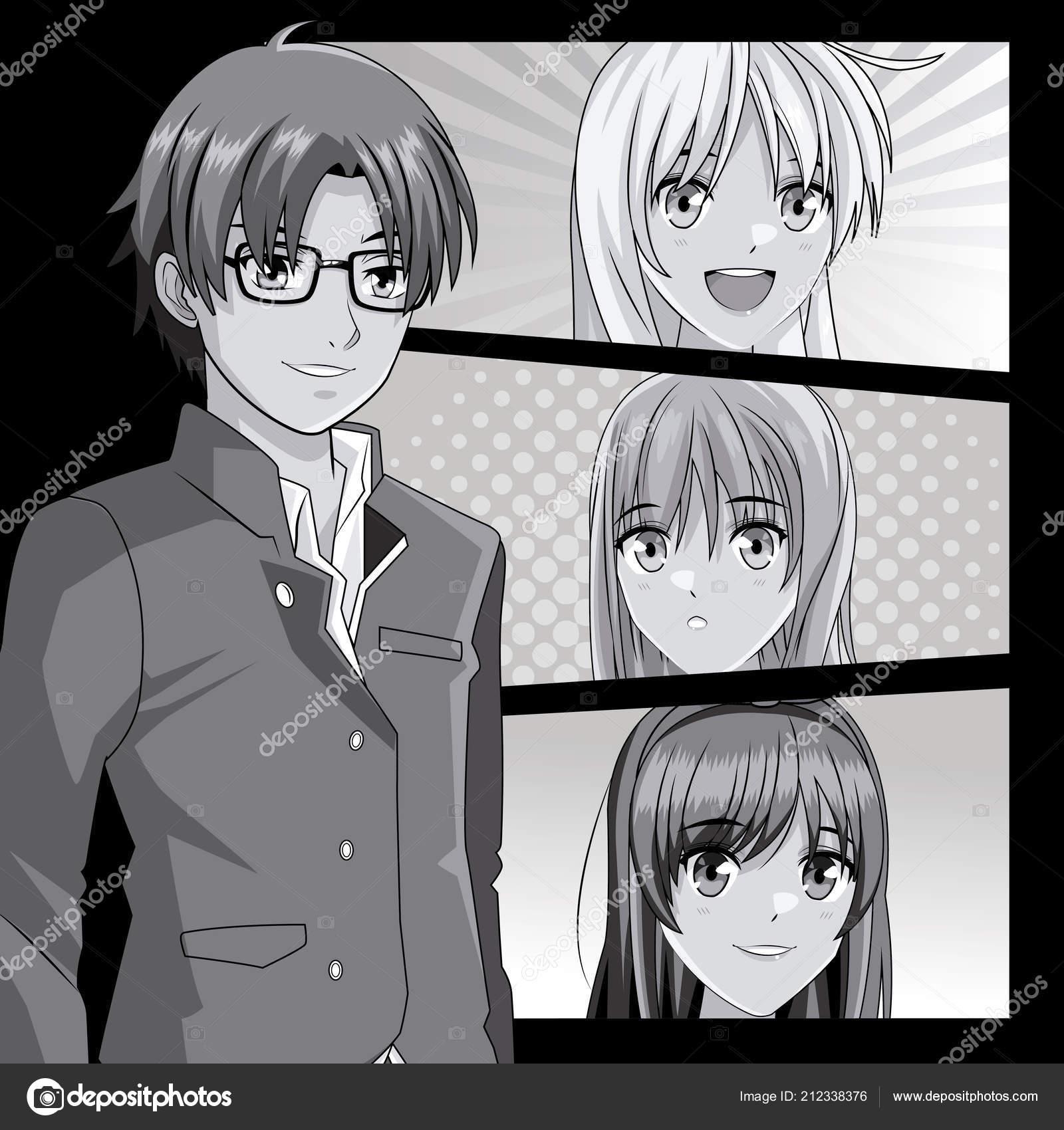Young manga faces cartoons stock vector