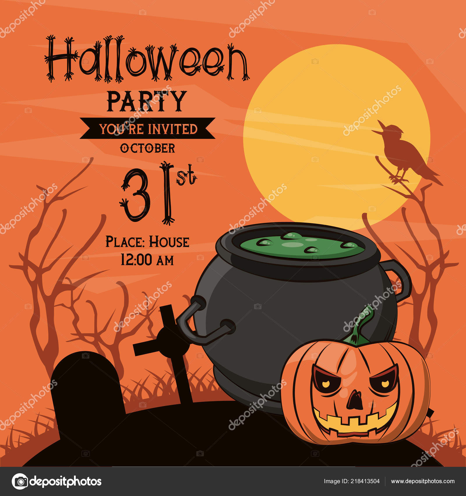 Halloween Party Invitation Card Elements Cartoons Vector