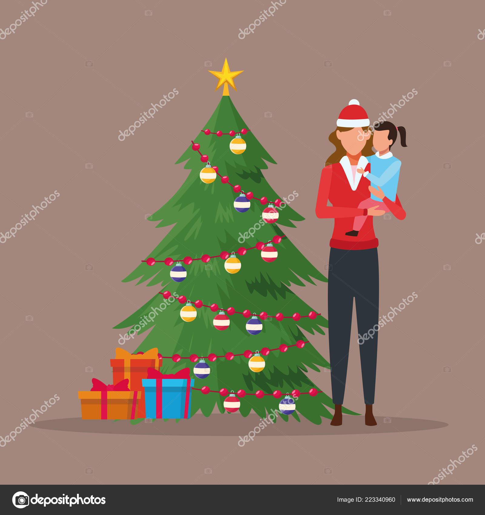 Frohe Weihnachten Familie.Frohe Weihnachten In Familie Stockvektor Jemastock 223340960