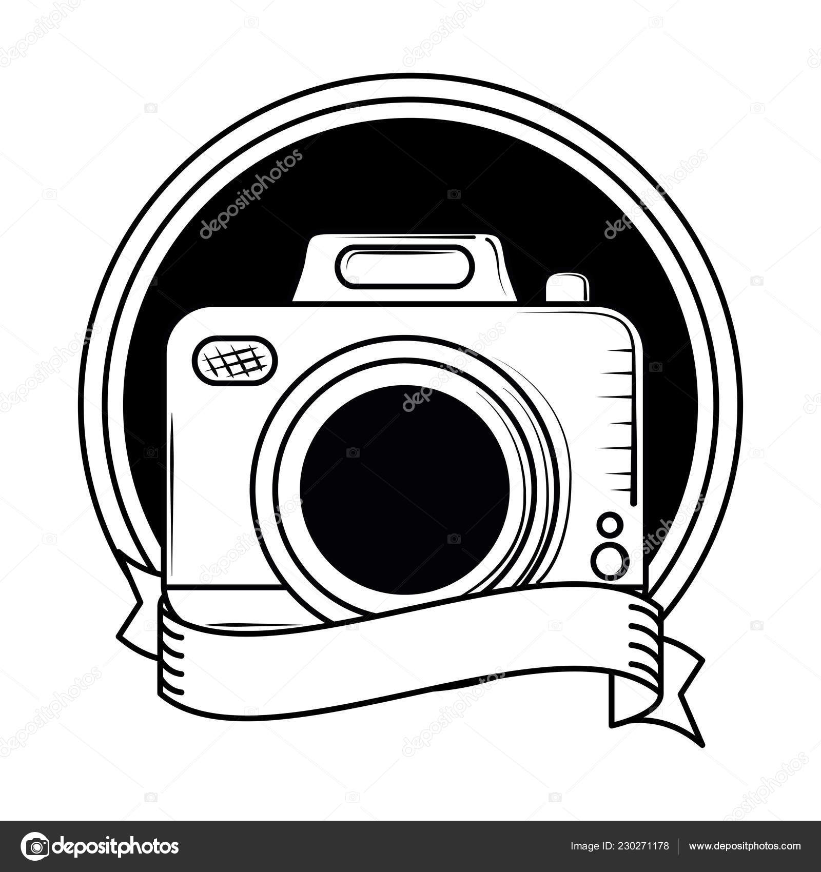 Vintage Photographic Camera In Black And White Stock Vector