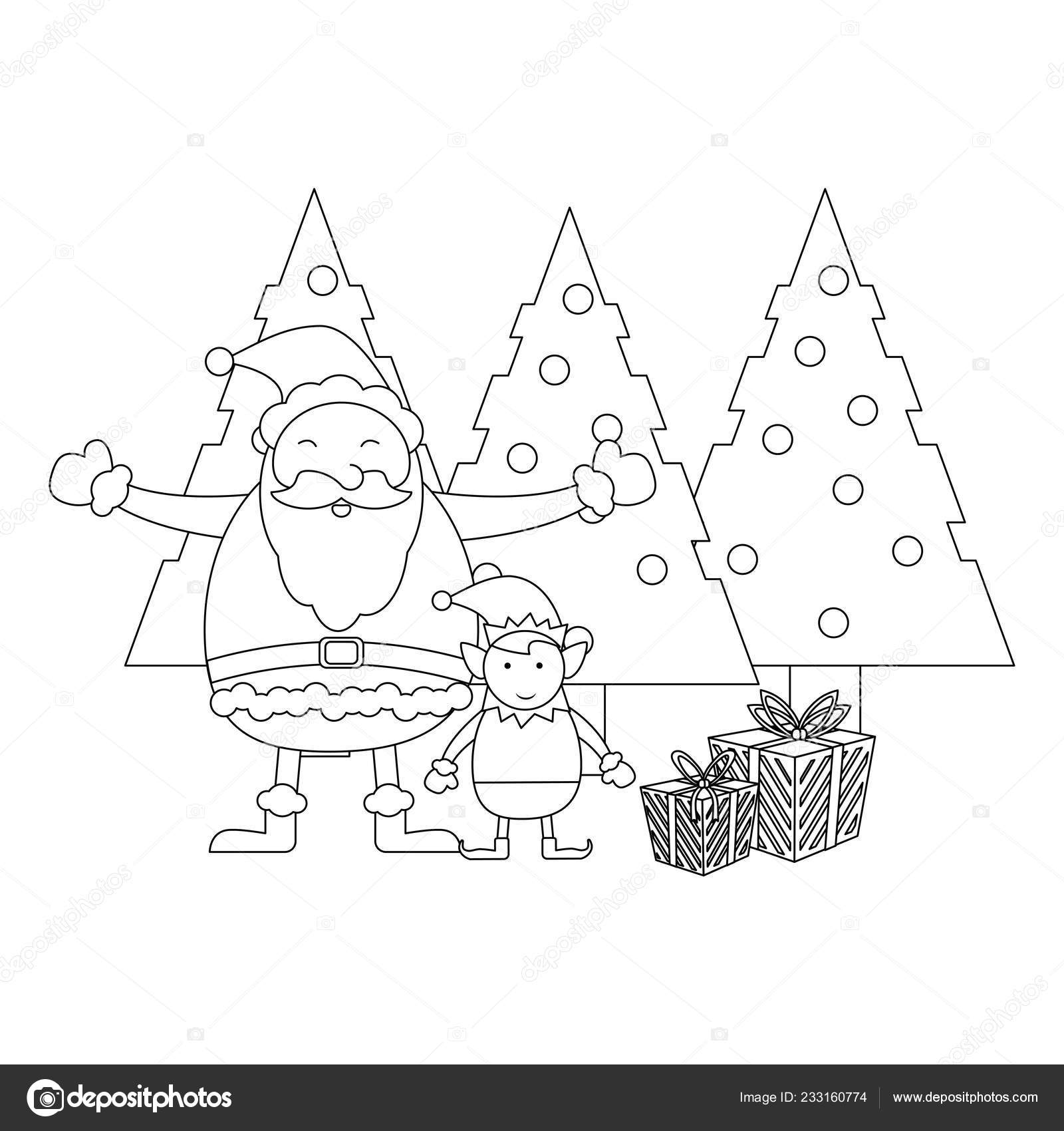 christmas santa claus cartoon black and white stock vector c jemastock 233160774 https depositphotos com 233160774 stock illustration christmas santa claus cartoon black html