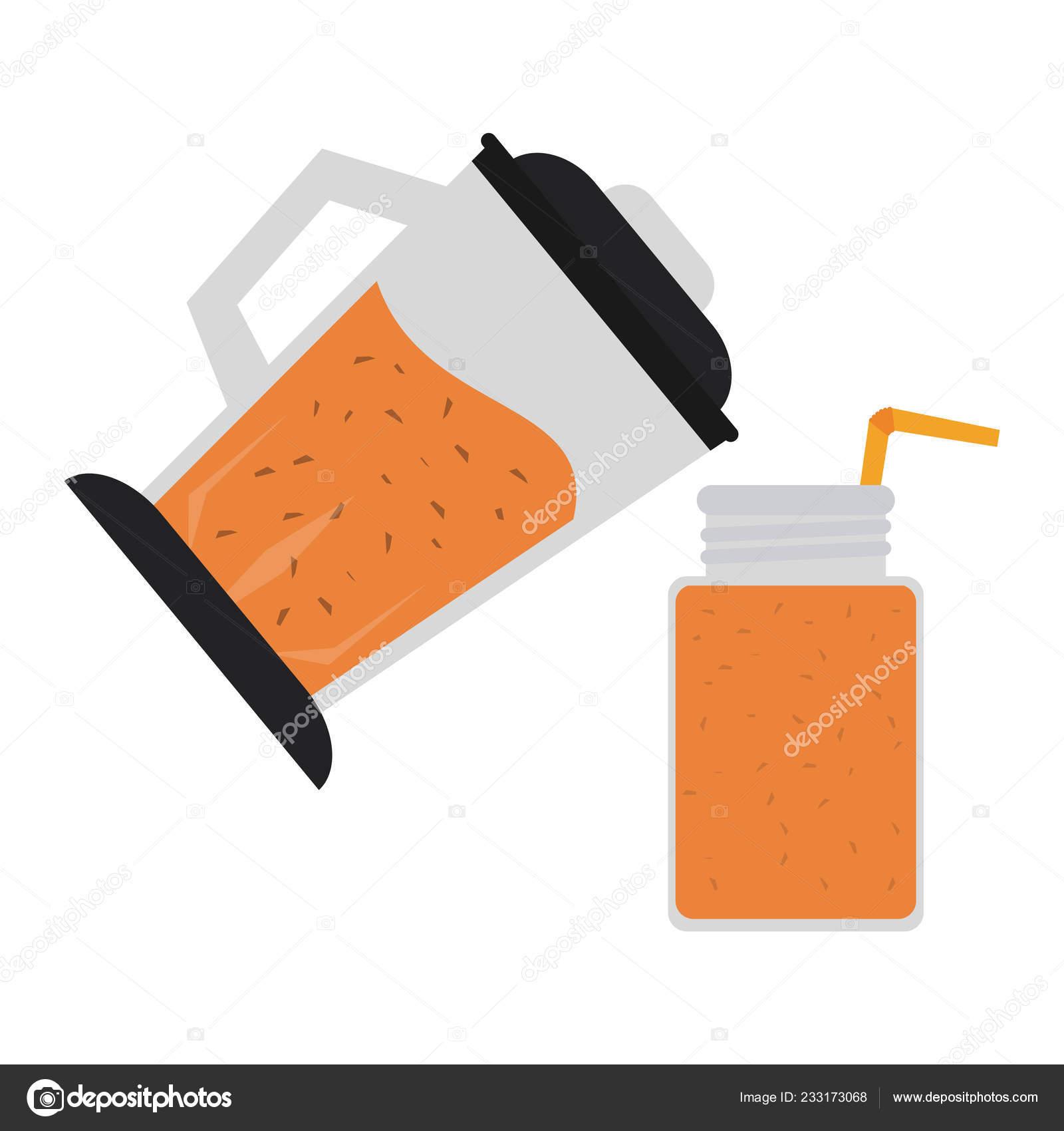 Fruit Juice Smoothie Blender Mason Jar Vector Illustration