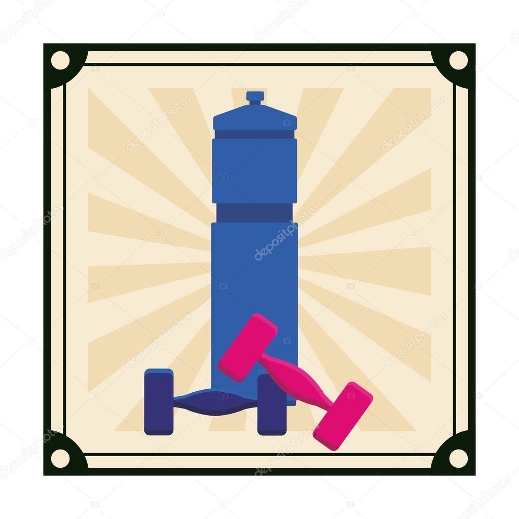 workout gym element cartoon