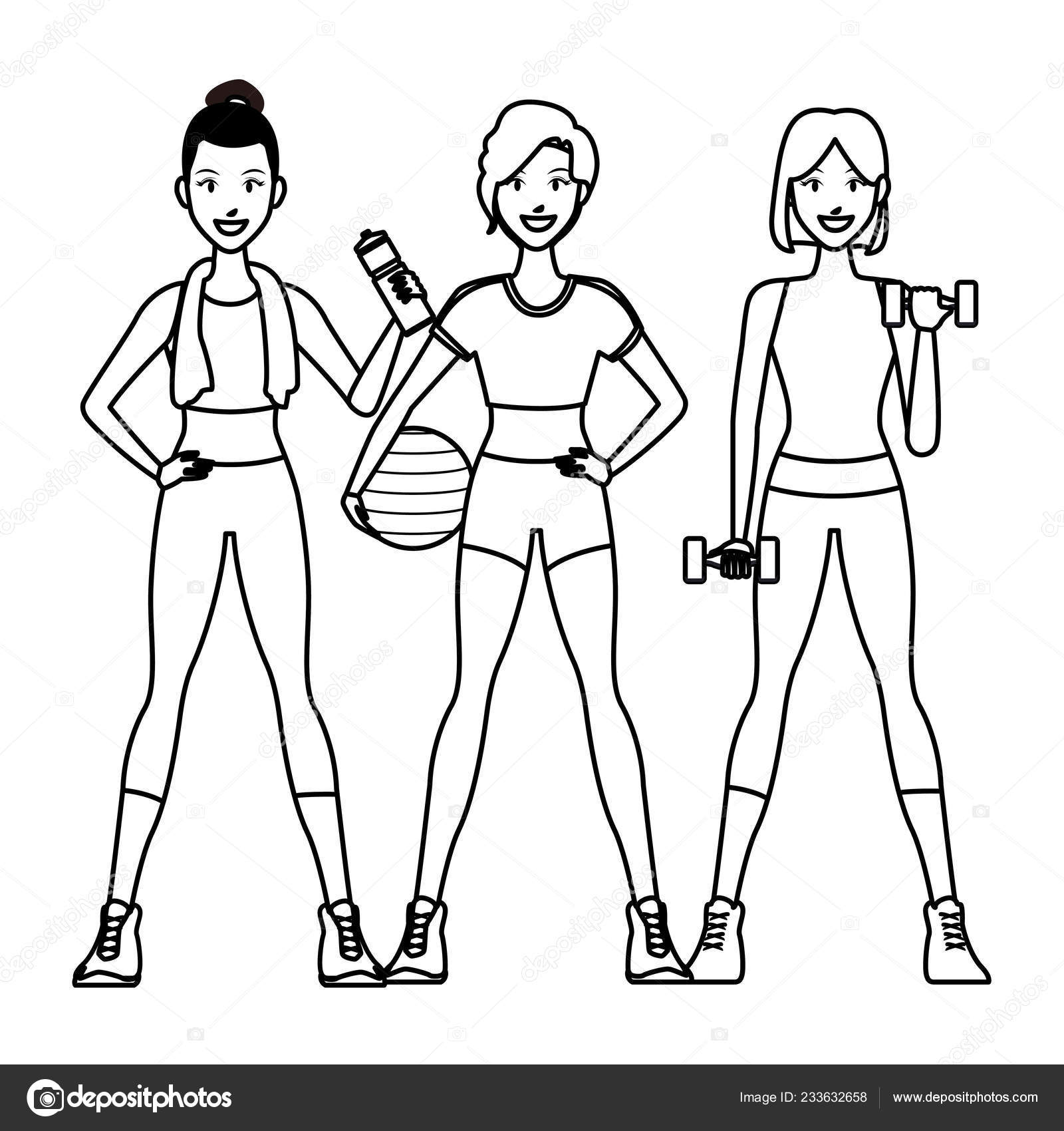Fit Women Doing Exercise Stock Vector C Jemastock 233632658 Free sketch vector personal use. depositphotos