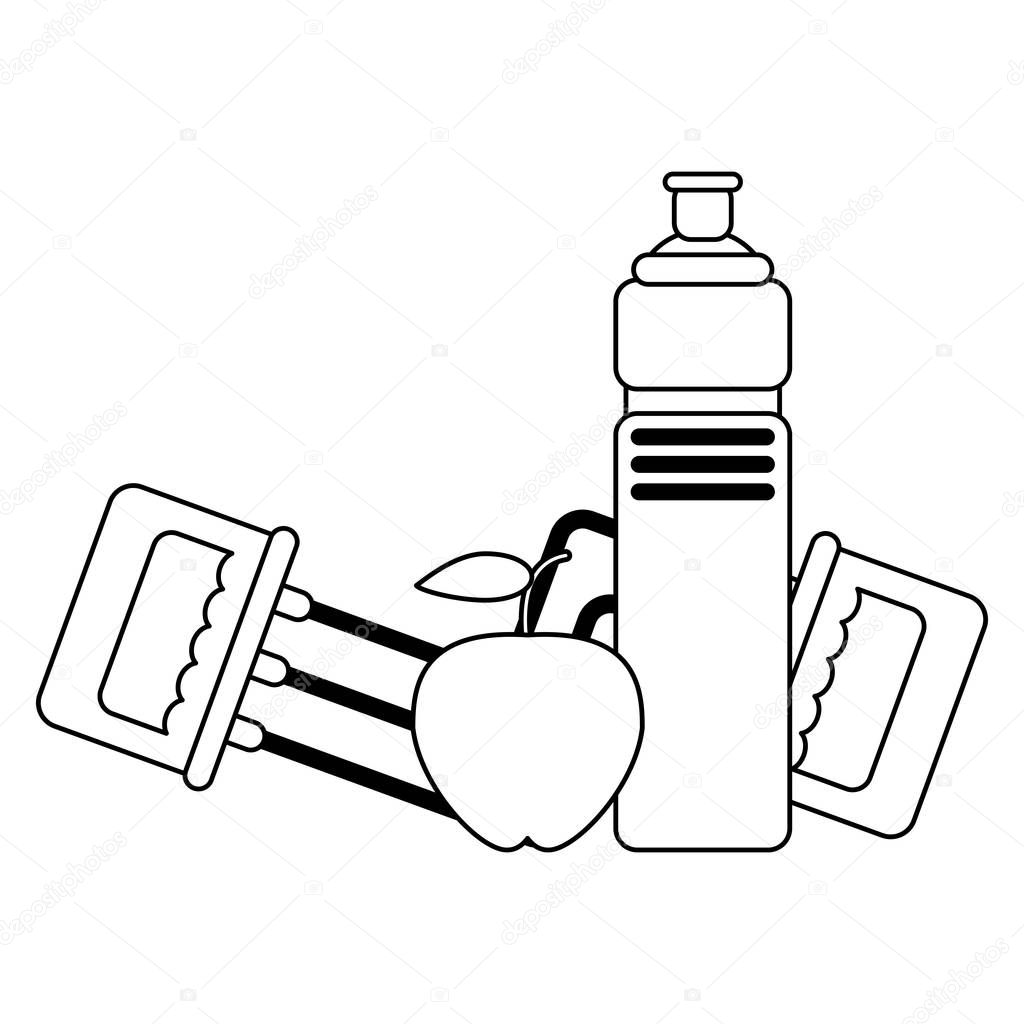 Fitness and healthy lifestyle black and white