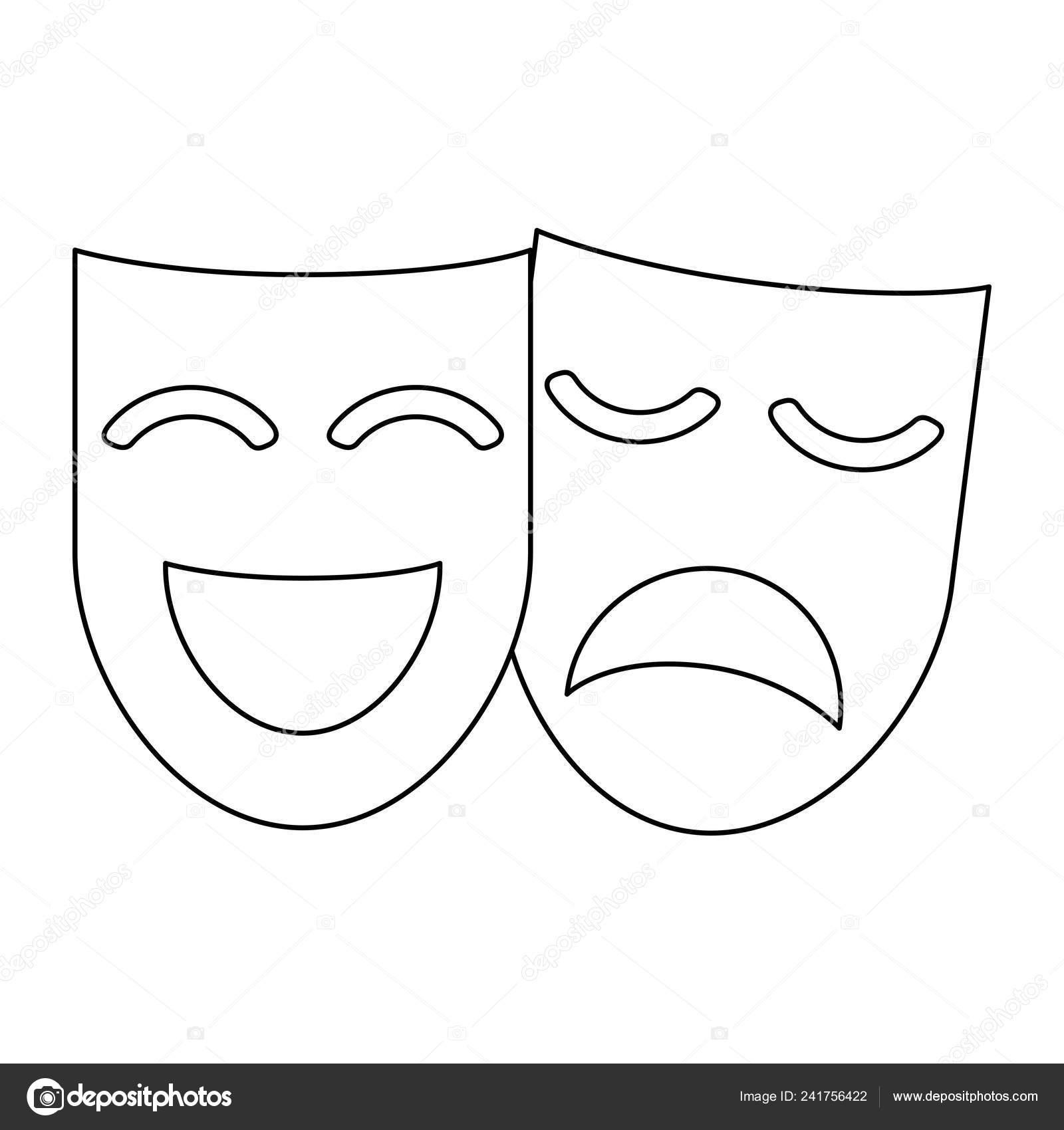 sito affidabile raccolto nuovo economico Maschera teatro maschera bianco e nero — Vettoriali Stock ...