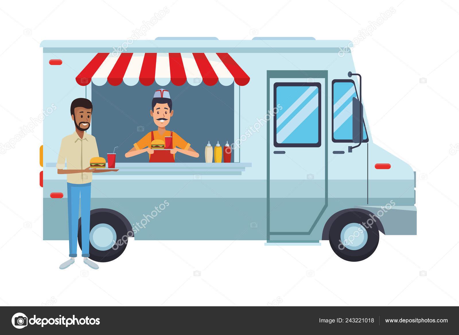Fast Food Truck Cartoon Stock Vector C Jemastock 243221018
