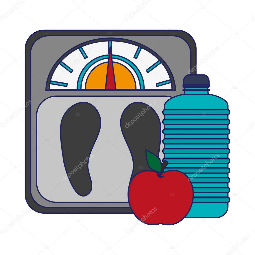 fitness body fat scale water bottle and apple