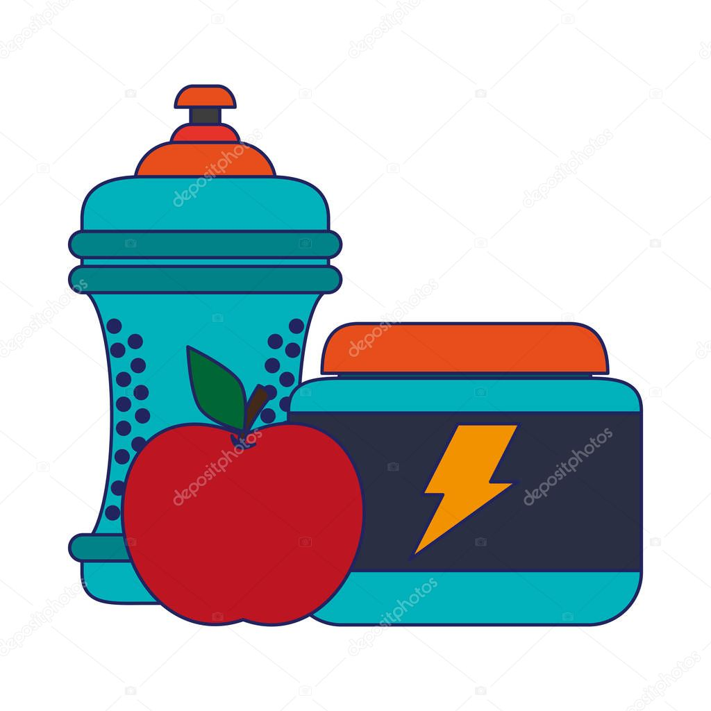 water bottle apple and energy pills