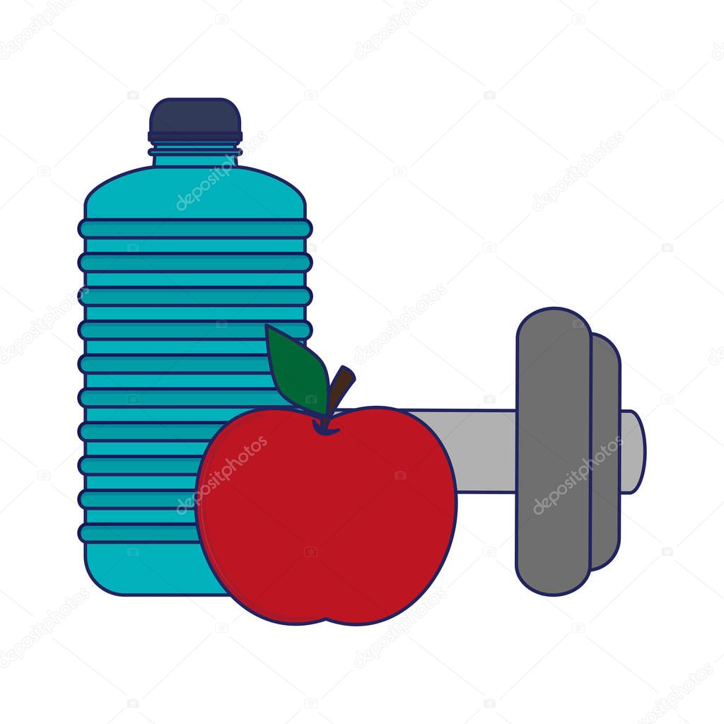 gym water bottle apple and dumbbell