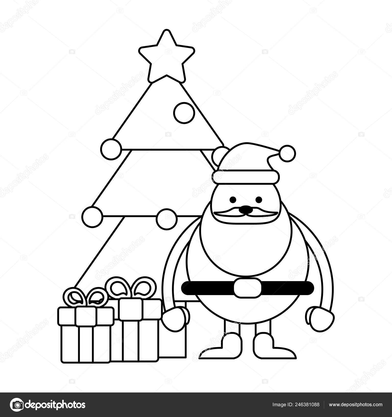 Saison De Noël Dessins Noir Et Blanc Image Vectorielle