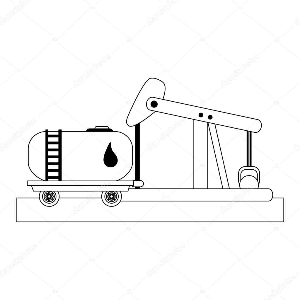 Petroleum refinery pump black and white